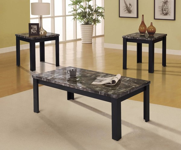 Homeroots Black Faux Marble 3pc Coffee Table Set OCN-313626
