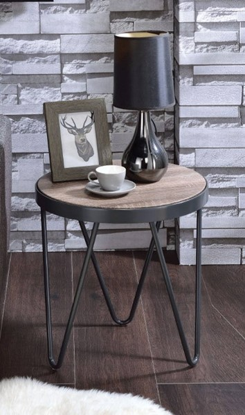 Homeroots Weathered Gray Oak Metal End Table OCN-313629