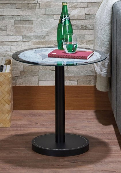 Homeroots Black Map Glass End Table OCN-313630