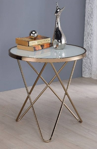 Homeroots Champagne Metal Frosted Glass Top End Table OCN-313631