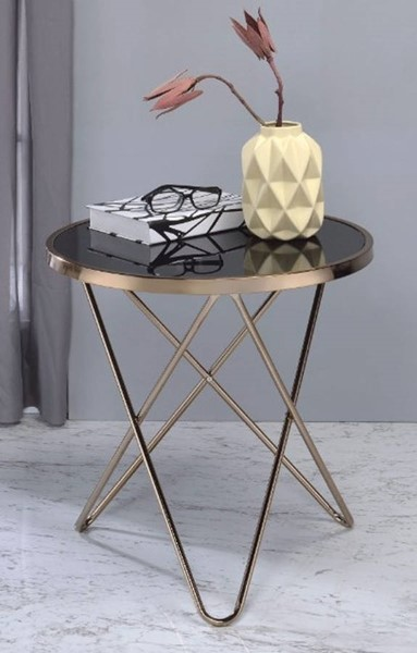 Homeroots Black Glass Champagne Metal End Table OCN-313632