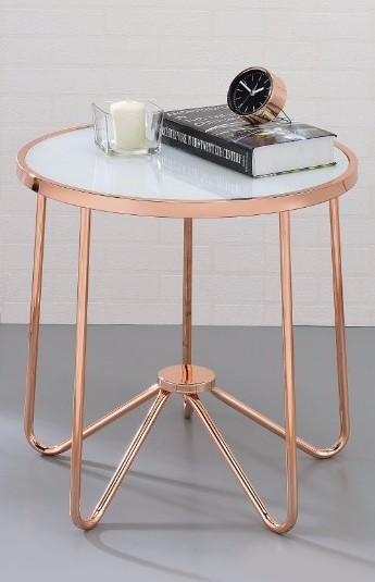 Homeroots Rosegold Metal Frosted Glass End Table OCN-313633