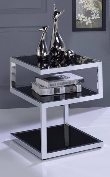 Homeroots Black Glass Chrome Metal End Table OCN-313635