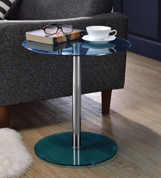 Homeroots Blue Glass Chrome Metal End Table OCN-313640