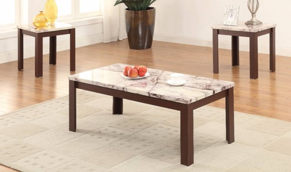 Homeroots Cherry Faux Marble 3pc Coffee Table Set OCN-313643