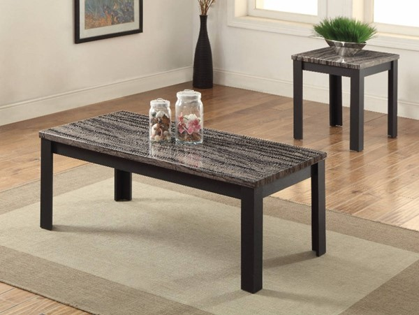 Homeroots Black Faux Marble Rectangle 3pc Coffee Table Set OCN-313644