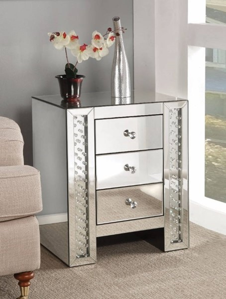 Homeroots Clear Mirror Crystals End Table OCN-313649