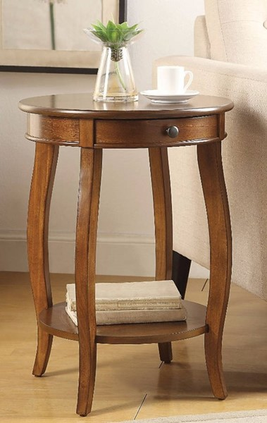 Homeroots Walnut Solid Wood End Table OCN-313652