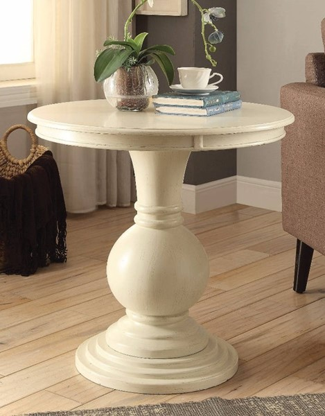 Homeroots Antique White Wood Resin End Table OCN-313654
