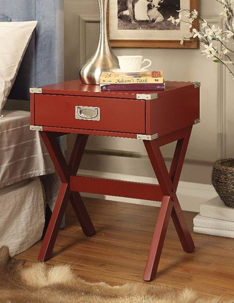 Homeroots Red Solid Wood Square End Table OCN-313655