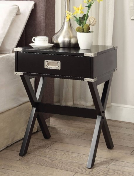 Homeroots Black Solid Wood Square End Table OCN-313656