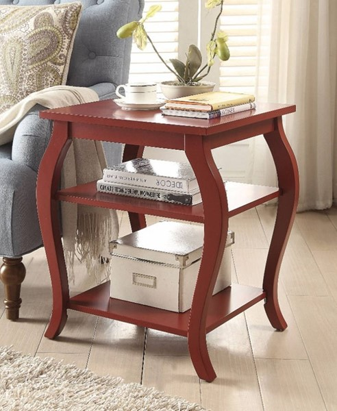 Homeroots Red Solid Wood 2 Shelf End Table OCN-313662