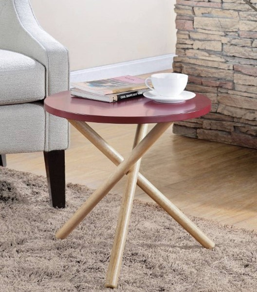 Homeroots Red Natural Solid Wood End Table OCN-313666