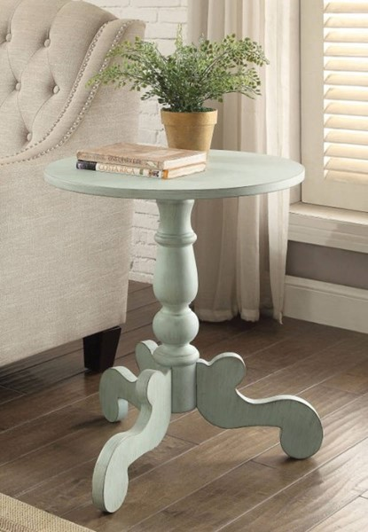 Homeroots Antique Green Solid Wood End Table OCN-313672