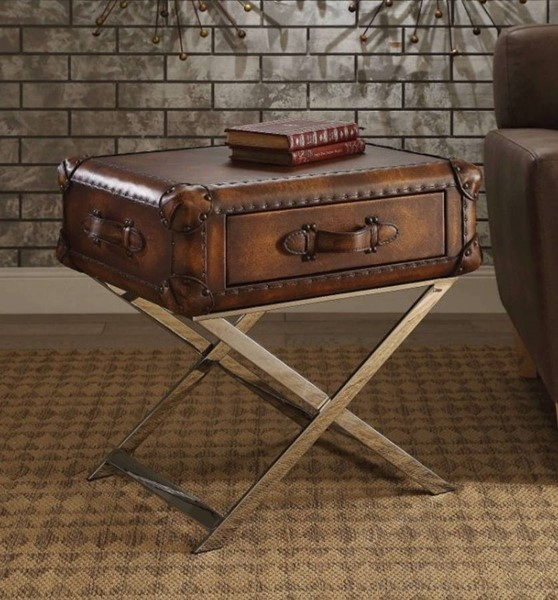 Homeroots Vintage Mocha Brown Leather Stainless Steel End Table OCN-313678