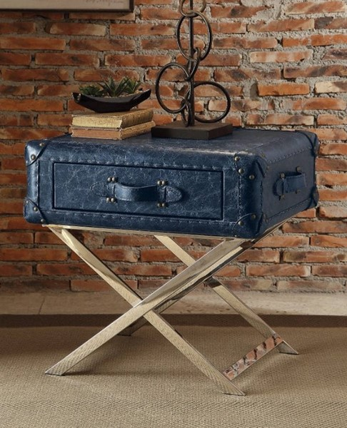 Homeroots Vintage Blue Leather Stainless Steel End Table OCN-313679