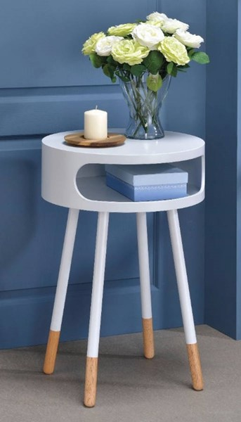 Homeroots White Natural Round End Table OCN-313680