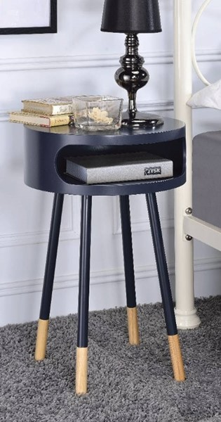 Homeroots Black Natural Round End Table OCN-313683