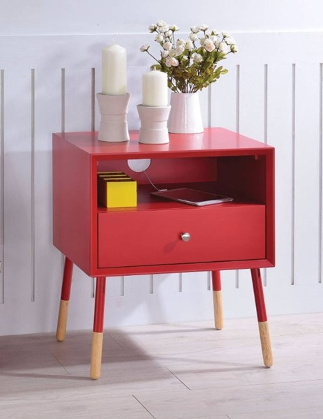 Homeroots Red Natural End Table OCN-313685