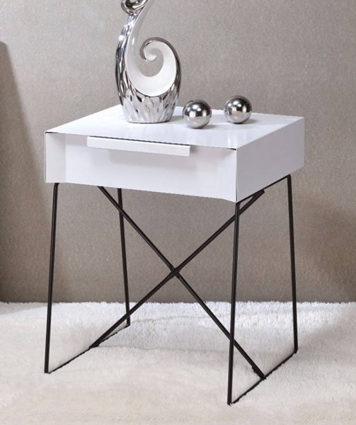 Homeroots White Wood End Table OCN-313688