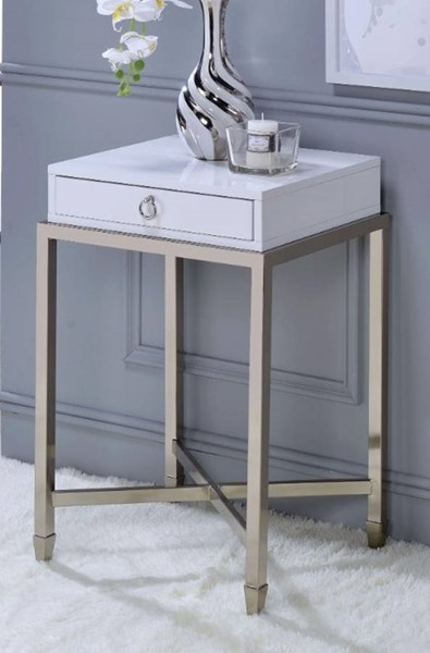 Homeroots White Wood Brushed Nickel Metal 1 Drawer End Tables OCN-313692-ET-VAR