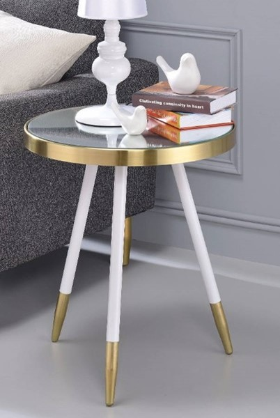 Homeroots White Antique Brass Metal Smoky Mirror Round End Table OCN-313695