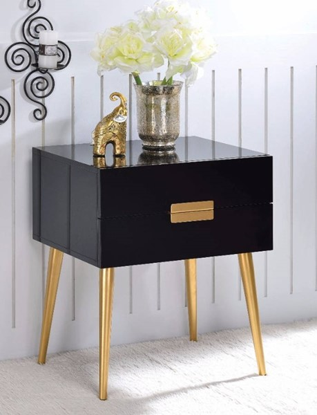 Homeroots Black Gold Metal Drawers Square End Table OCN-313696