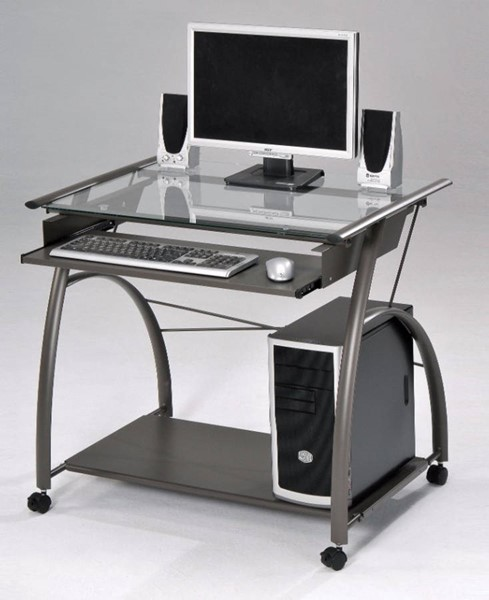 Homeroots Pewter Iron Plate Glass Top Computer Desk OCN-313713