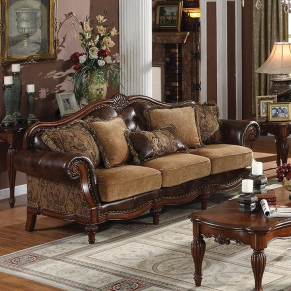 Homeroots Brown PU Chenille Sofa with 5 Pillows OCN-313759