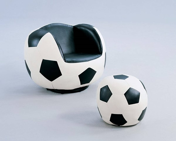 HomeRoots Black White PU Wood All Star Soccer 2pc Chair and Ottoman Set OCN-313761