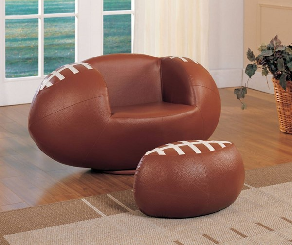 HomeRoots Brown White PU Wood All Star Football 2pc Chair and Ottoman Set OCN-313762