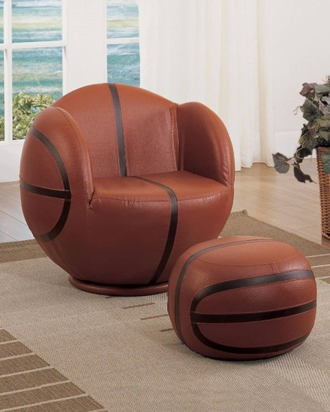 HomeRoots Brown Black PU Wood All Star Basketball 2pc Chair and Ottoman Set OCN-313763