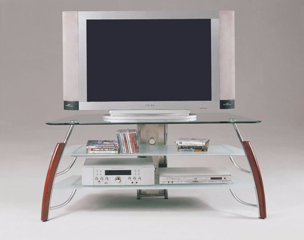 Homeroots Brown Cherry Wood Chrome Metal Glass Top TV Stand OCN-313778