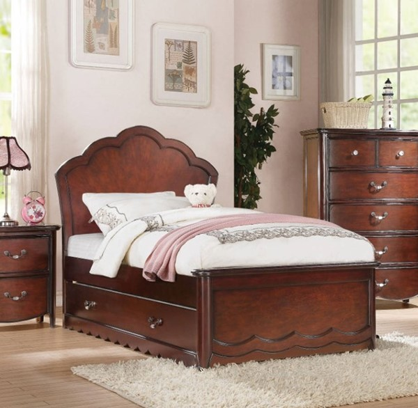 HomeRoots Cherry Brown Wood Majestic Twin Beds OCN-313807-BED-VAR