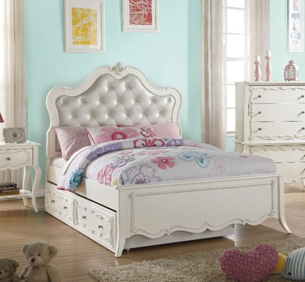 HomeRoots Pearl White PU Button Tufted Twin Bed OCN-313825