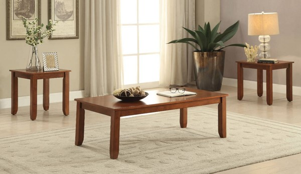 Homeroots Cherry Brown Wood 3pc Coffee Table Set OCN-313880