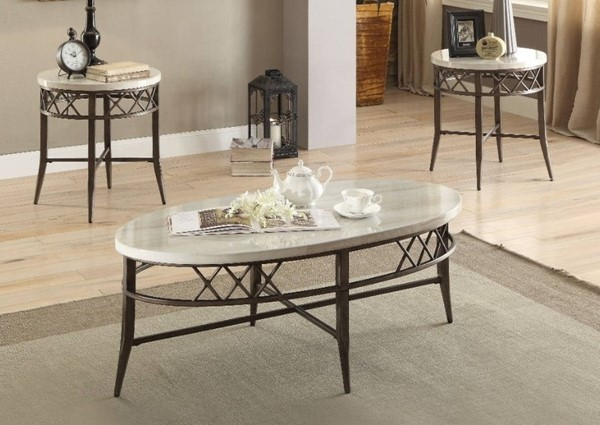 Homeroots Brown MDF White Marble 3pc Coffee Table Set OCN-313889