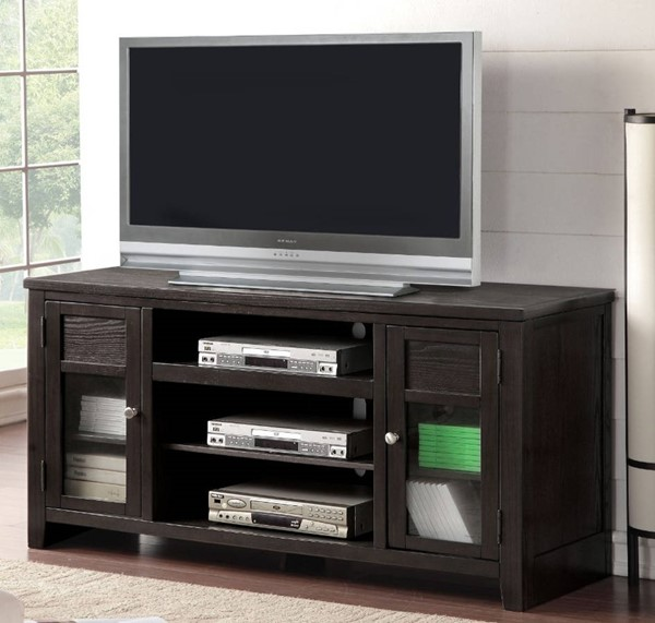 Homeroots Black Wood Glass Doors TV Stands with Drawers OCN-313913-TV-VAR