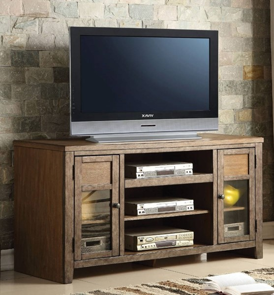 Homeroots Oak Brown Wood Glass Doors TV Stand with Drawers OCN-313914