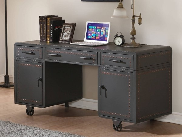 Homeroots Black Metal Retro Executive Office Desk OCN-313938
