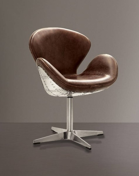 HomeRoots Brown Leather Silver Aluminium Swivel Accent Chair OCN-313987