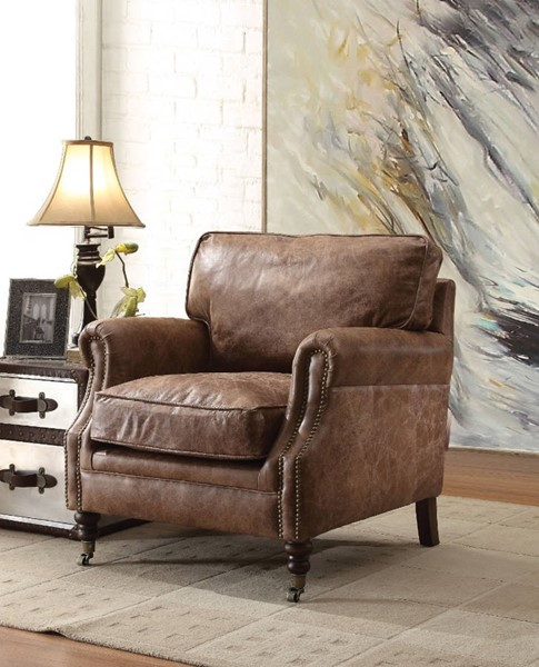 HomeRoots Retro Brown Leather Wood Cushion Back Accent Chair OCN-313991
