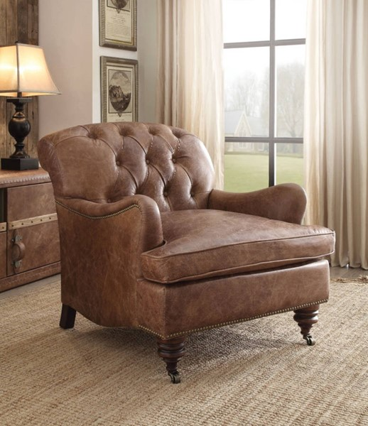 HomeRoots Retro Brown Leather Wood Tufted Back Accent Chair OCN-313992