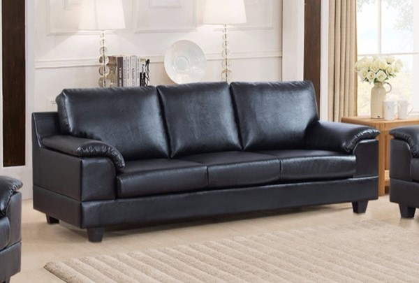 HomeRoots Contemporary Black PU Leather Sofa OCN-314050