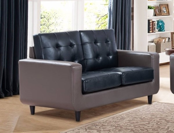 HomeRoots Contemporary Blue Grey Leather Loveseat OCN-314064