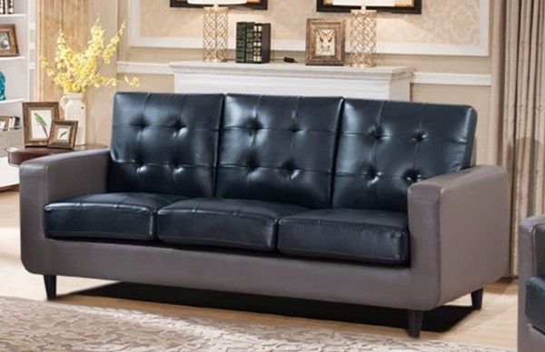 HomeRoots Contemporary Blue Grey Leather Sofa OCN-314065
