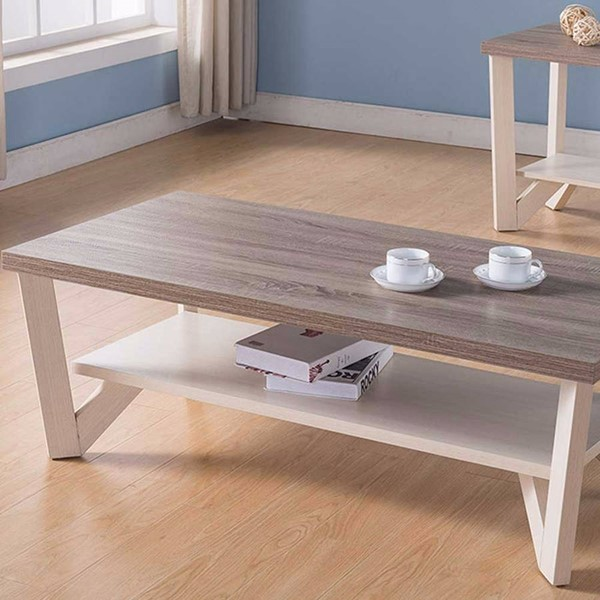 Homeroots Brown White Wood Coffee Table OCN-314073