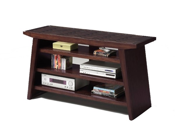 Homeroots Brown Wood Glass Top Entertainment TV Stand OCN-314077
