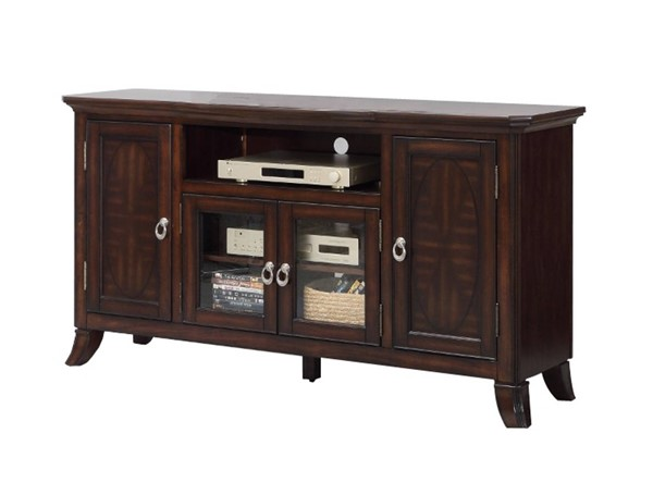 Homeroots Walnut Brown Wood Glass Top Entertainment TV Stand OCN-314080