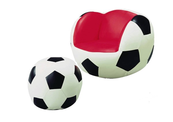 HomeRoots Black White Red Leather Soccer Chair and Ottoman Set OCN-314086